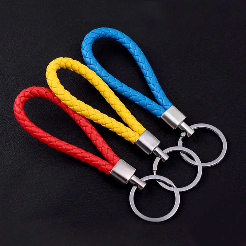 ทำด้วยมือหนัง PU เชือกพวงกุญแจโลหะ DIY อุปกรณ์เสริม Key Braided Key Auto Keyring จี้