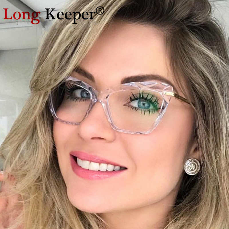 Long Keeper Spring Fashion Unique Faceted Eyeglasses Frame Women Reading Transparent Sexy Cat Eye Glasses UV400 Oculos De Dol