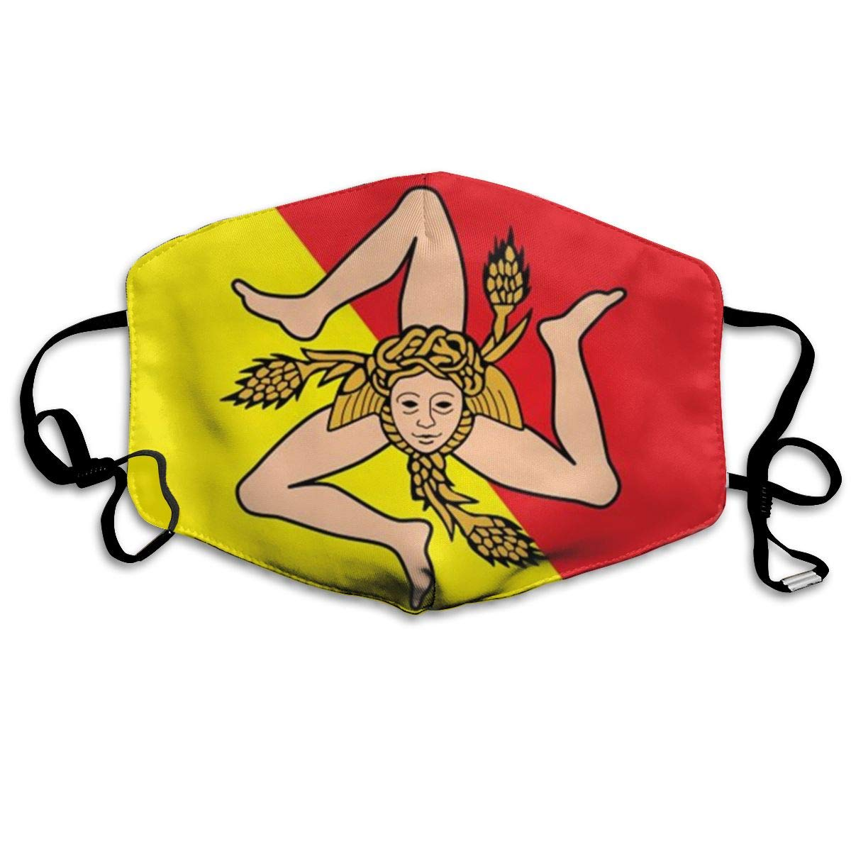 Breathable Anti Dust Mouth Mask With Adjustable Earloop, Warm Windproof Reusable Washable Half Face Mask, Sicily Flag