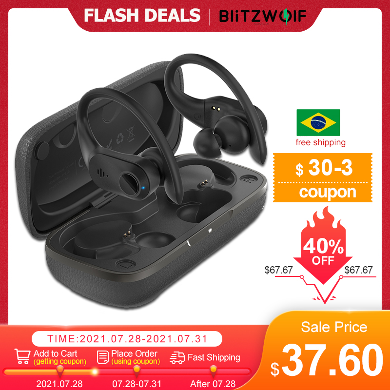 BlitzWolf BW FYE10 TWS Earbuds bluetooth 5.0 Earphone 13mm Large Dynamic Driver Bass Stereo Wireless Earphone Sports Earhooks|Bluetooth Earphones & Headphones| - AliExpress