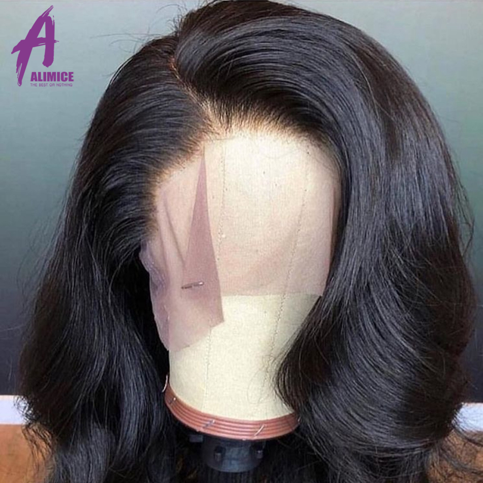 Alimice Malaysian Body Wave Lace Front Wigs with Baby Hair 13*4 Remy Human Hair Pre Plucked Hairline Glueless Short Bob Wigs - 5