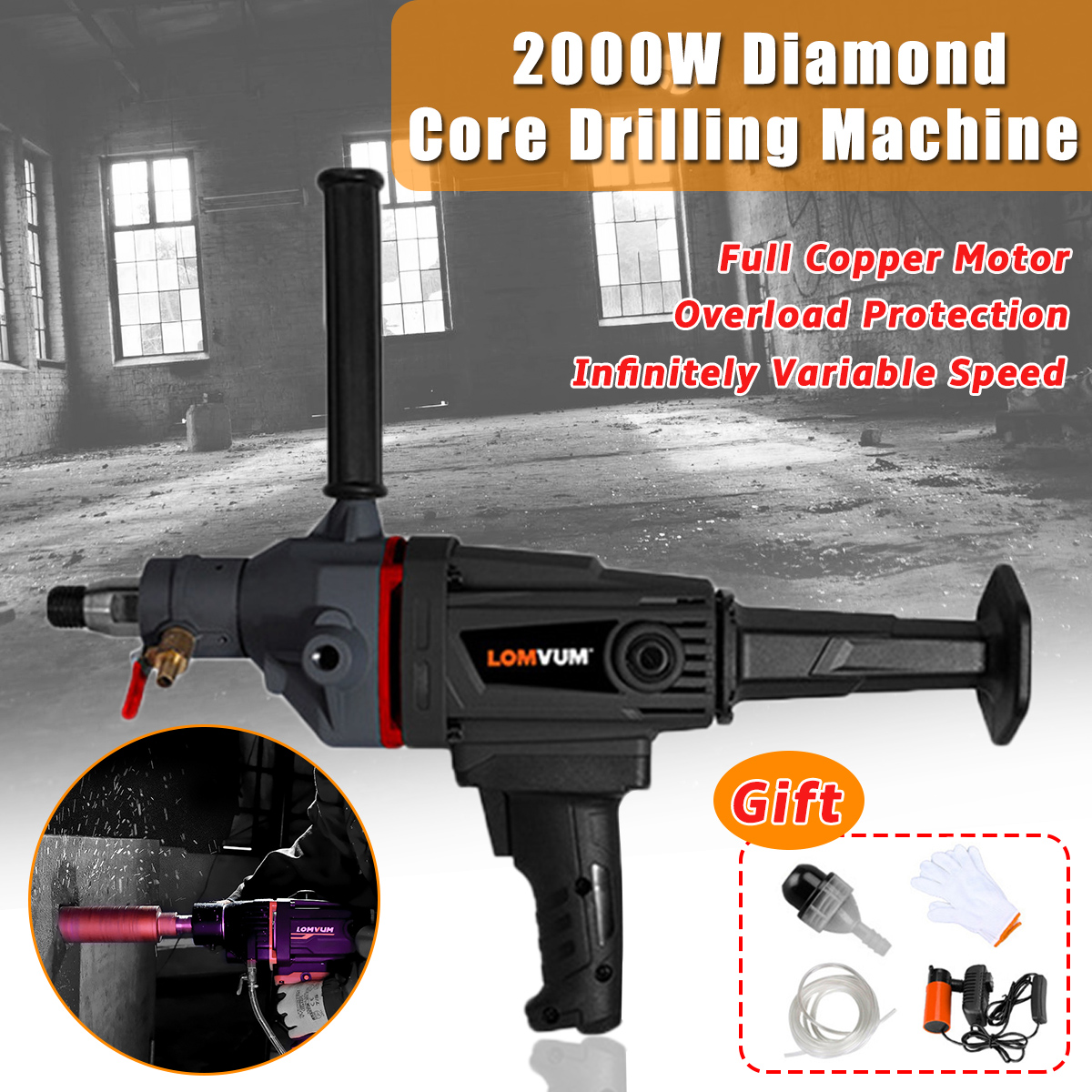 220V 2000W 180mm Handheld Diamond Core Drill Concrete Core Drilling Machine Wet/Dry Electric Drill Water Drill With Water Pump