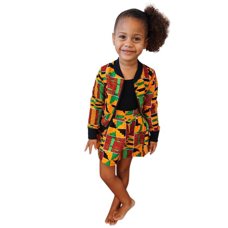 Ethnic Coat Boho Style African Print Zipped Jacket and Skirt for Toddler Girl Long Sleeve Autumn Clothing Set