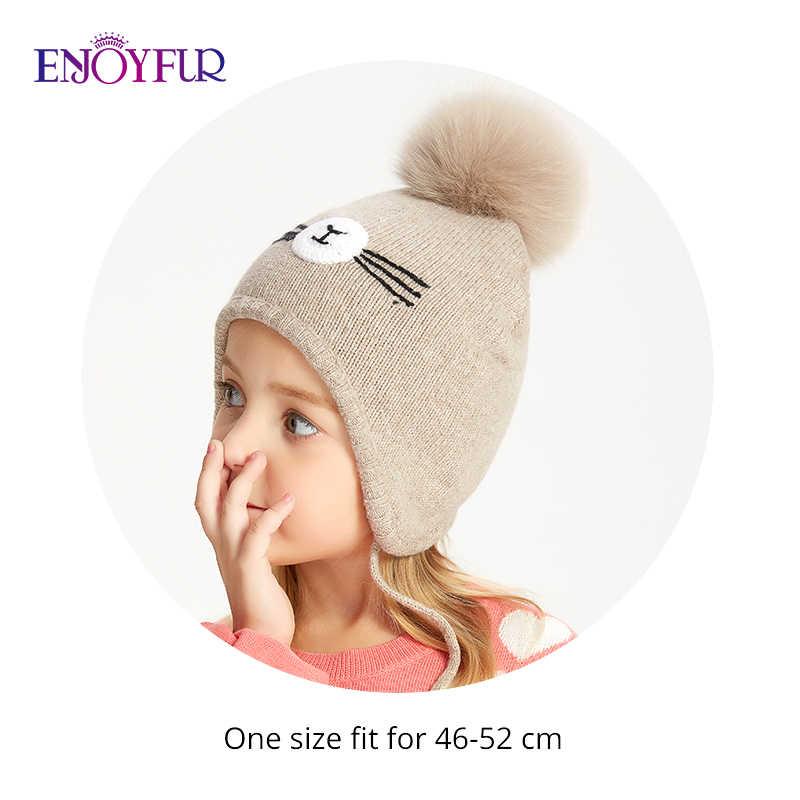 ENJOYFUR kış şapka çocuklar için kız ve erkek tilki kürk ponpon çocuk kap pamuk sıcak örme kulaklar kasketleri 2 -8 yaş