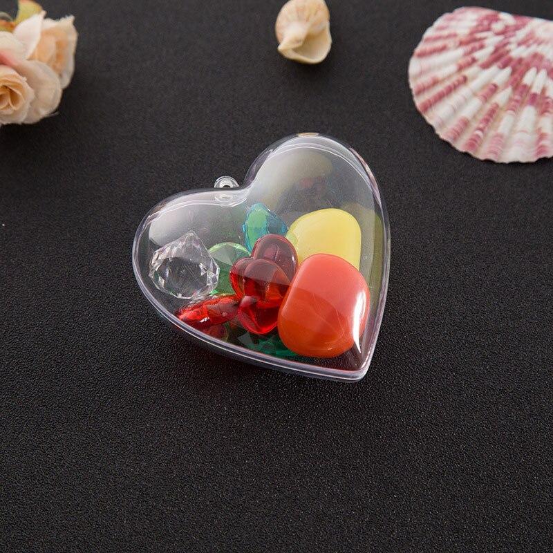 1 Set DIY Clear Plastic 2Pcs Heart Shape Acrylic Mould Hanging Ornament Bath Bomb Mold Home Party Pendant Decoration Supplies