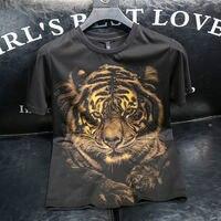 Luxus Schwarz Gold Große Tiger Diamant männer T Shirts Sommer Business Casual Hohe Qualität Kurzen Ärmeln Tops Marke Männlichen kleidung