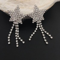 New style silver star star crystal tassel earrings