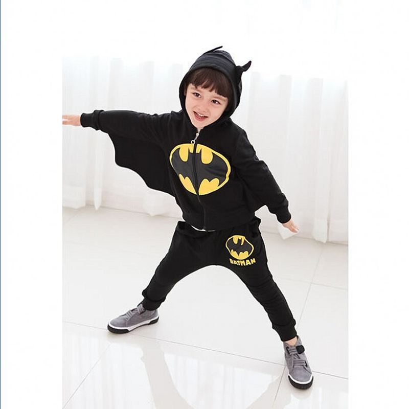 2-8 Year Kids Boy Clothes Black Batman Costume For Cosplay Cool Boy Long Spring Clothes Set Children Hooded Tops+Long Pants