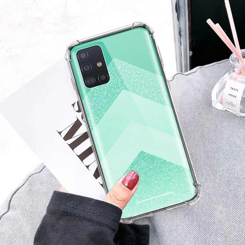 Aqua Argento Verde Menta Per Il Caso di Samsung Galaxy A51 A71 5G M31 A41 A31 A11 A01 M51 M21 Airbag anti Caduta TPU Cover Del Telefono