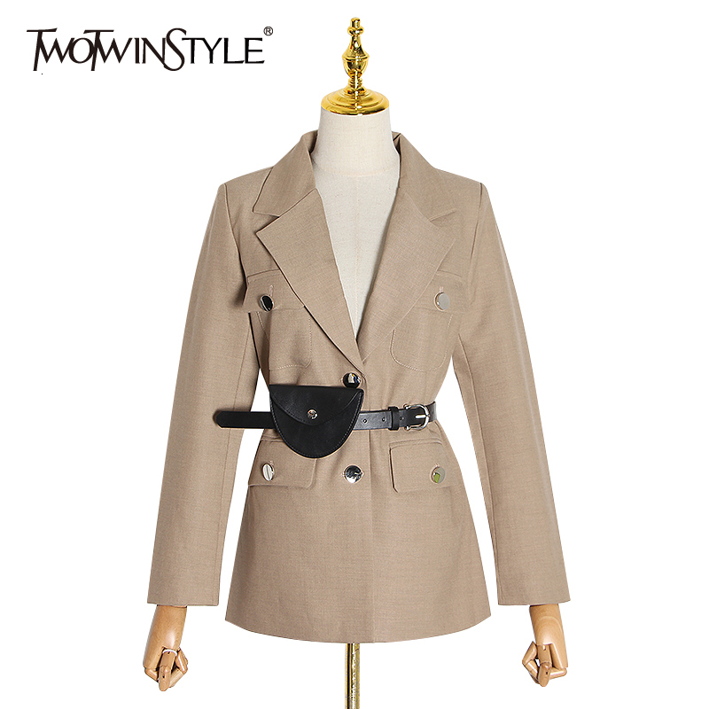 TWOTWINSTYLE Casual Slim Blazers For Female Notched Long Sleeve Tunic Autumn Winter Suits Women Clothing 2019 Fashion Tide