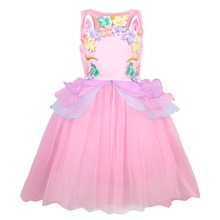Kids Dresses For Girls Unicorn Party Princess Dress Costume Child Wedding Toddler 00375