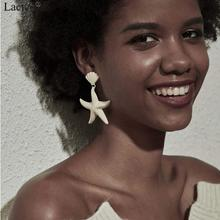 Lacteo Simple Minimalist Big Sea Star Drop Earrings for Women Statement Yellow Pink Painted Alloy 2019 Fashion Jewelry