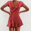 Chiffon Rüschen Kleid Frauen Sommer Bandage Kleider Kurzarm Floral Bedruckte V-ausschnitt Kleid Casual Strand Mini Kleider Sukienka