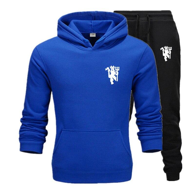 New Men's Sets Fashion Streetwear Hoodies Sweatshirts Pullover Autumn Sportswear+Pants Casual Men Brand Clothing Plus Fleece