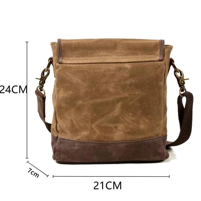 SCIONE Men Oil Wax Canvas Leather Crossbody Bag Men Military Army Vintage Messenger Bags Shoulder Bag Casual Travel Bags 2