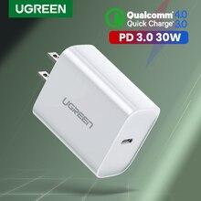 Ugreen PD Cargador 30W de carga rápida 3,0 QC USB tipo C cargador rápido para iPhone 11 X Xs X 8 Macbook teléfono QC3.0 USB C de cargador