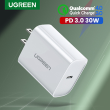 Ugreen PD Charger 30W Quick Charge QC 3.0 USB Type C Fast Charger สำหรับ iPhone 11 X XS 8 macBook โทรศัพท์ QC3.0 USB C PD Charger