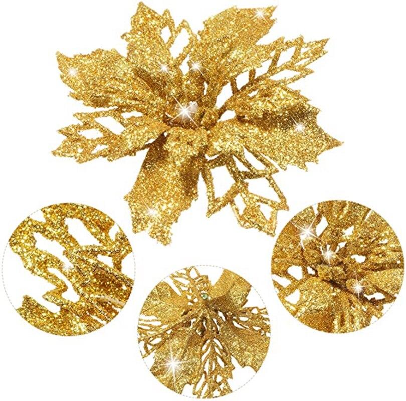 12 pçs/lote Glitter Flor Artificial Flor Artificial Decoração de Natal Decoração Da Árvore de natal e Enfeites