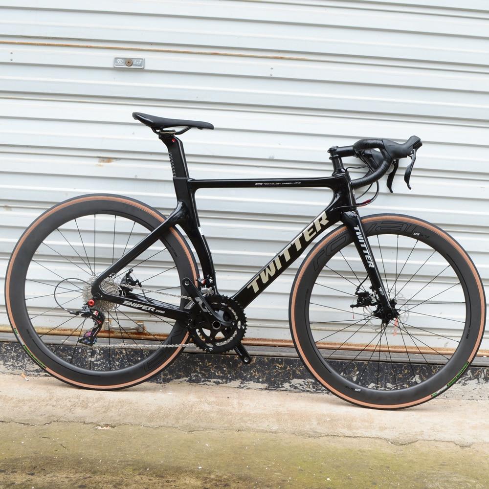 TWITTER, полностью углеродное волокно, дисковый тормоз, дорожный велосипед, углеродное колесо 16 и 22 скорости