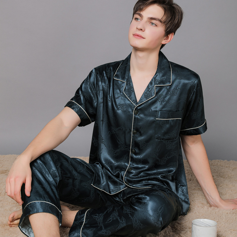 Silk Pajamas For Spring And Summer Autumn Satin Men's Pajamas Home Clothes Short Sleeve Long Pants Large Size Suit For Home Men