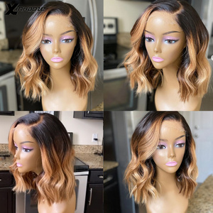 Short Bob Blonde Highlight 5x5 PU Scalp Silk Lace Front Wigs Ombre Colored Natural Wave Wig Pre Plucked Baby Hair Bleached Knots