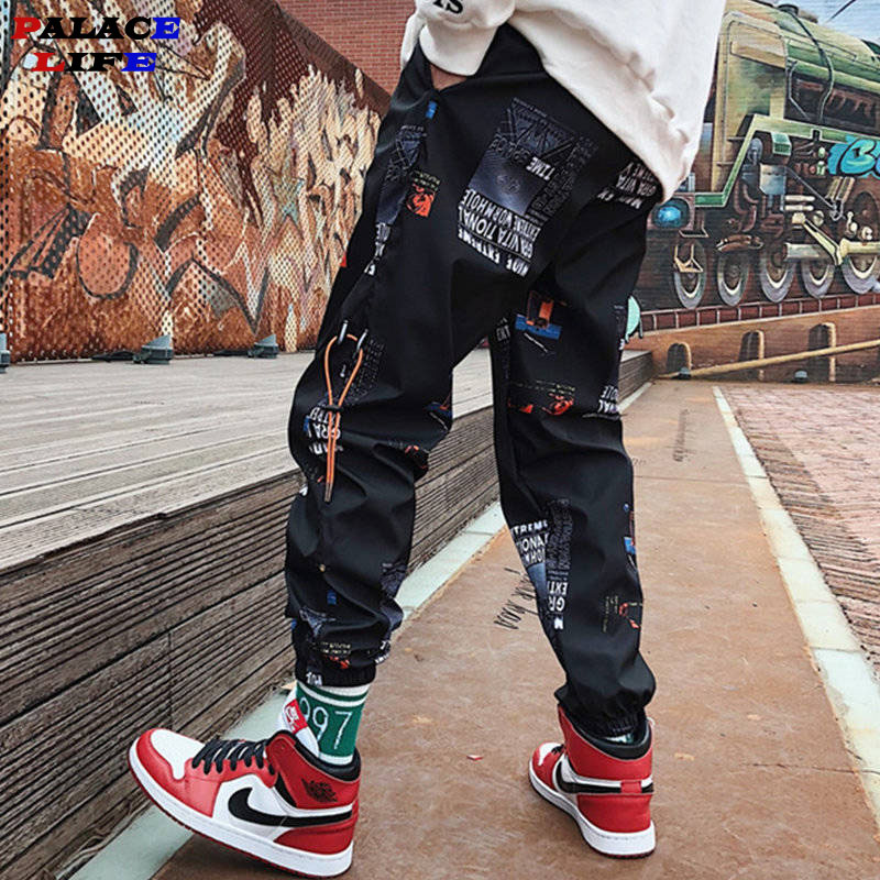 Hip Hop Pants Men Loose Joggers Print Streetwear Harem Pants Big Size S-3XL Casual Harajuku Funny Print Ankle Length Trousers