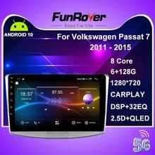 Funrover 2 din android 10.0 rádio do carro gps para vw passat volkswagen b7 b6 cc dvd player multimídia carro estéreo 6gb rom 128g dsp