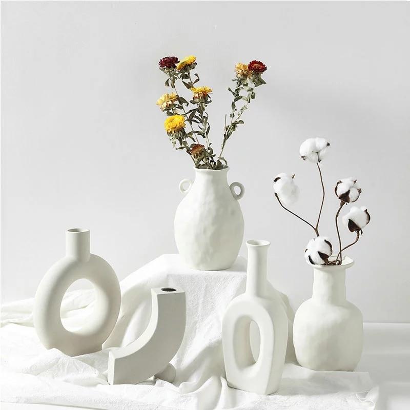 Minimalist Ceramic White Vase