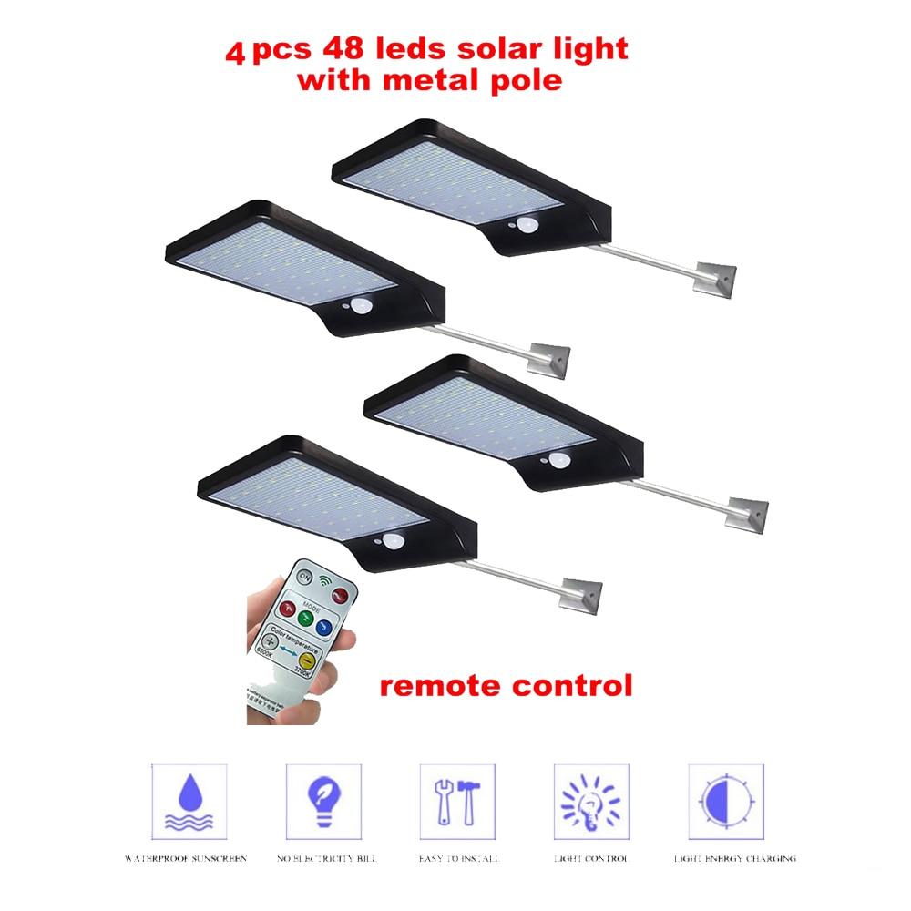2/4pcs Solar Lamp Outdoor Led Light PIR Motion Sensor LED Solar Power Wall Street Garden Light Security Spotlight Waterproof Dec