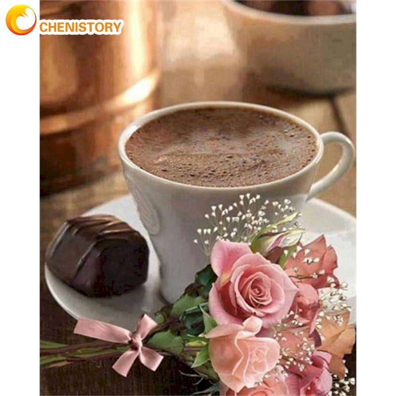 Купить набор для рисования по номерам на холсте с цветком кофе