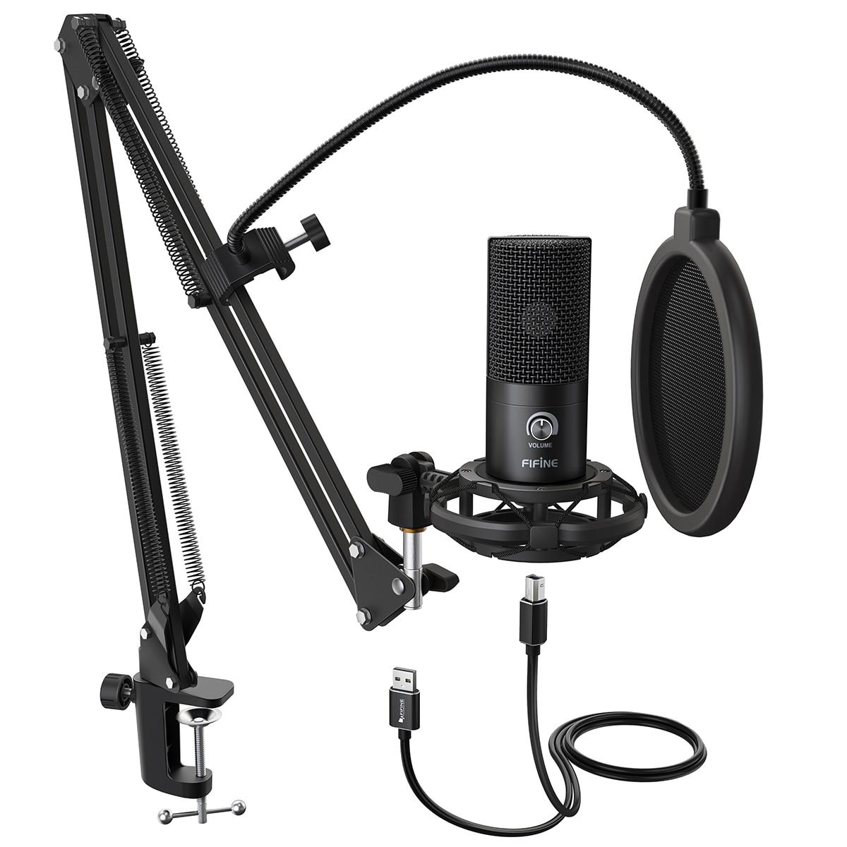 Fifine microfone de estúdio usb, kit de microfone condensador usb com tesoura ajustável, suporte de braço, montagem de choque para youtube de voz Overs-T669
