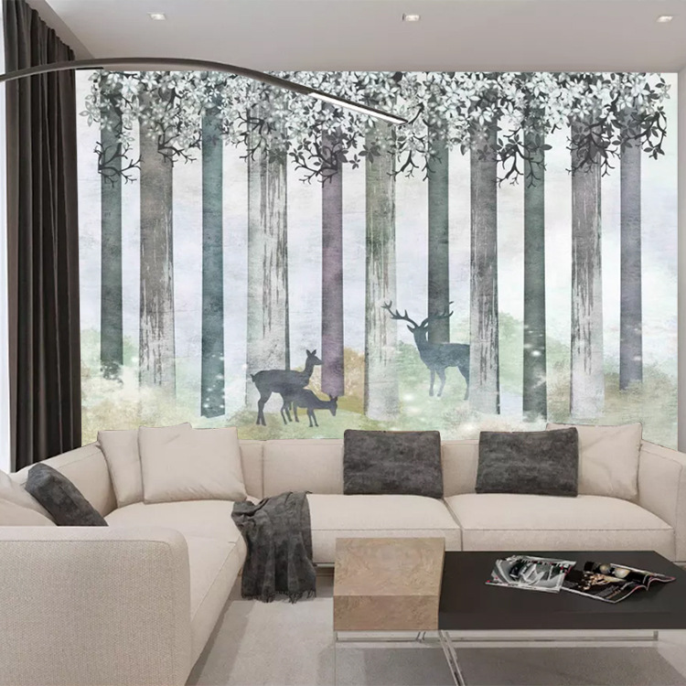 Northern European-Style Wallpaper Modern Minimalist Bedroom Living Room Gray Wall Wallpaper Cool Art Forest Elk Mural