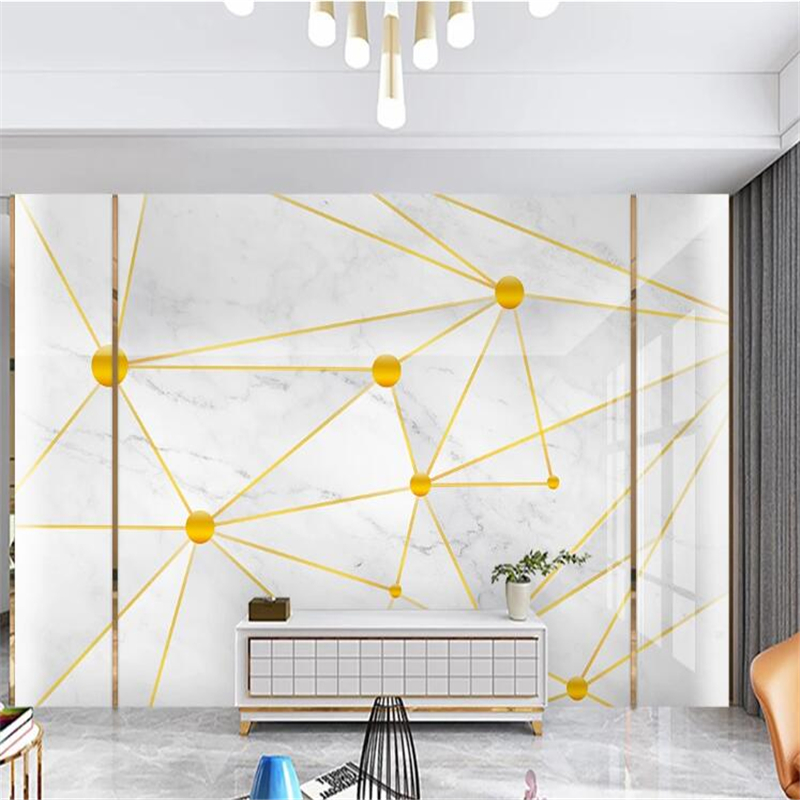 Wellyu Papel Parede Custom WallpaperGold 3D Stereo Micro Lattice Geometric Marble TV Background Wall Papier Peint Mural 3d