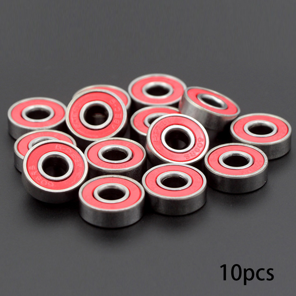 10pcs Sports Easy Carry Quiet Skateboard Longboard Double Sided Replacement Parts 608zz Steel Accessories Wheel Bearing