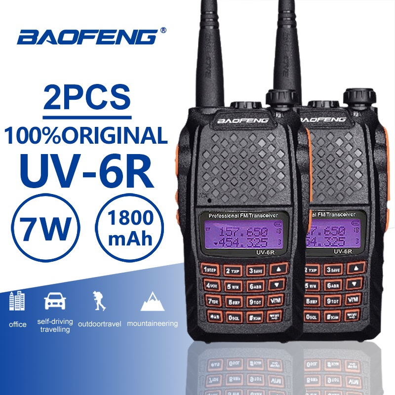 Baofeng UHF VHF Walkie-Talkie Ham Fm-Radio Dual-Band UV-6R Alarm 2pcs PTT 7W VOX Orange