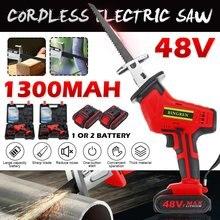 Scie alternative sans fil Rechargeable 48V vitesse réglable scie électrique Kit d'outils de coupe de bois avec 1/2 batterie Li-ion prise ue