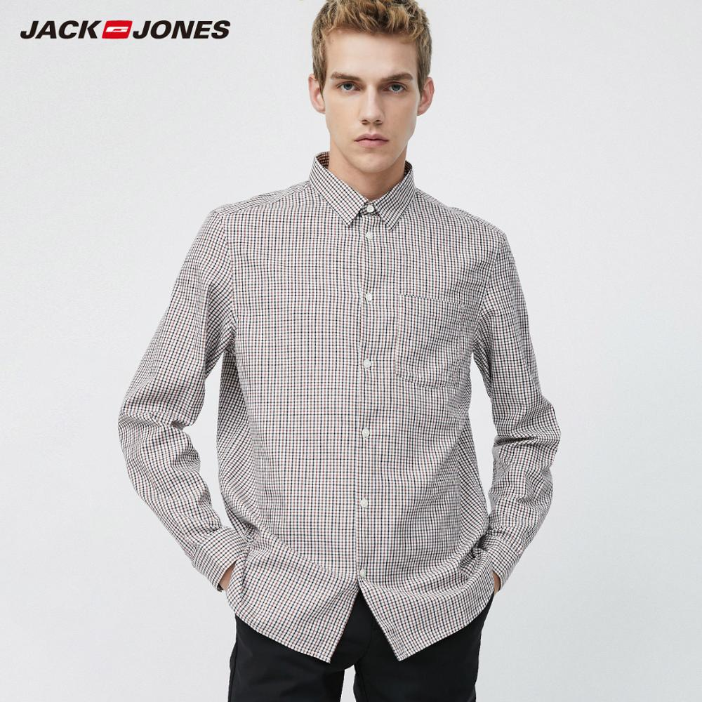 JackJones Men's Comfortable 100% Cotton Business Casual Plaid Long-sleeved Shirt Menswear  219305502
