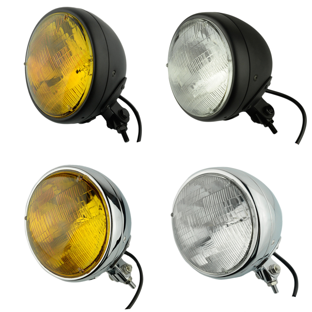 perfk Motorcycle 4.5 inch Round Headlight Head Lamp Side Mount Mesh Grill Cover Vintage Style
