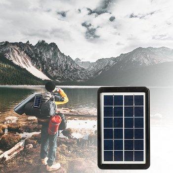 Power Panel LED Solar Generator Kit Bluetooth Speaker USB Charger Home System + 2 LED Bulbs Outdoor Lighting Smartphone Charging 4