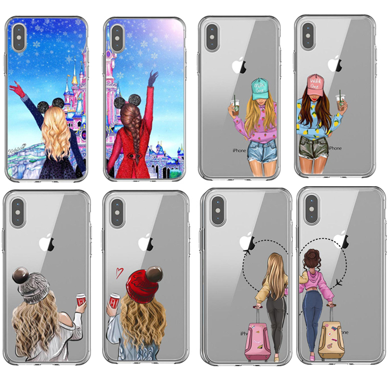 Girlfriends Girls <font><b>Bff</b></font> Best Friends Forever Soft TPU Back Cover Phone <font><b>Case</b></font> for <font><b>iPhone</b></font> XS 5s <font><b>SE</b></font> 6 6S 7 8 Plus XR XS MAX 11 Pro Max image