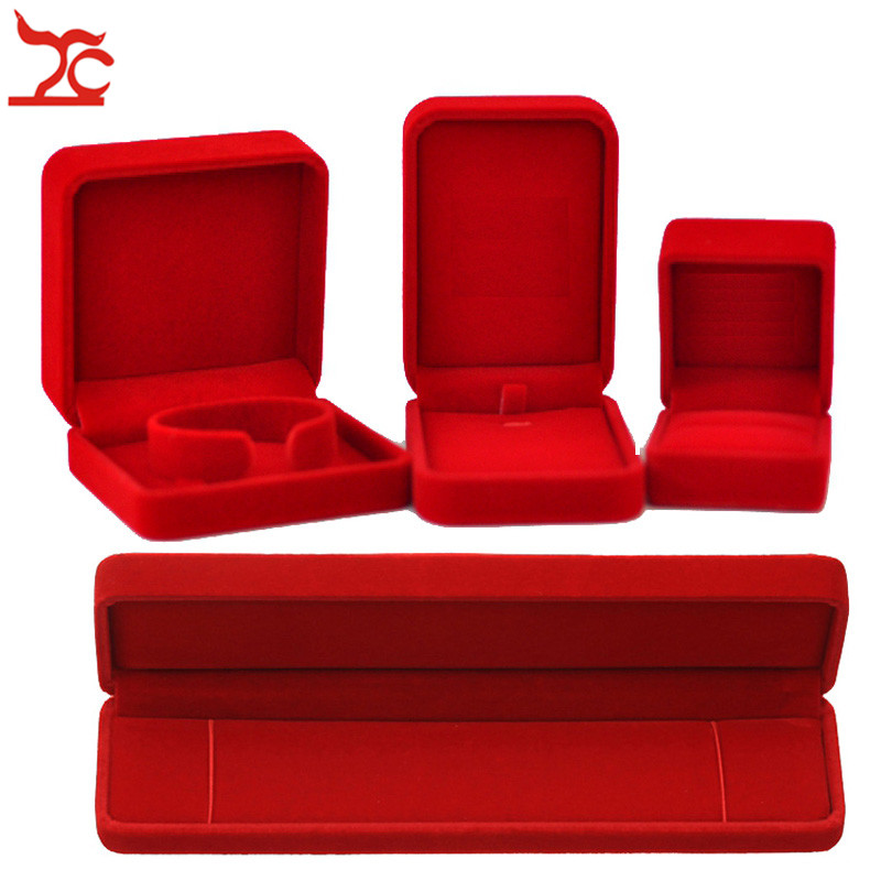 Quality Wedding Jewelry Storage Case Amazing Red Velvet Ring Earrings Necklace Pendant Bracelet Storage Organizer Gift Box