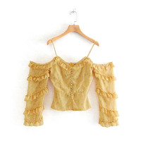 Cxn 9468 Pullover Single Breasted Long Sleeve Lotus Leaf Trimmed Decoration Dungaree Shirt