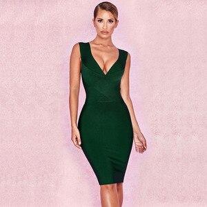 Image 5 - 最新のボディコン包帯ドレスの女性のオレンジvネックのセクシーなナイトクラブセレブイブニングパーティードレス女性vestidos