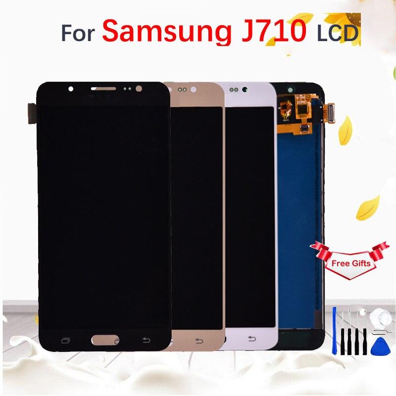 Para samsung galaxy j7 2016 j710 j710f j710fn j710m j710h display lcd de tela toque digitador assembléia substituição ajustar brightne