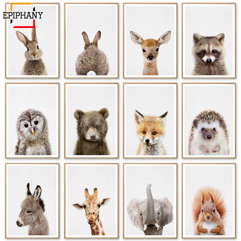 Baby Animal Posters And Prints  Rabbite Giraffe Elephant Canvas Painting Nursery Wall Art Nordic Picture Kids Room Decoration