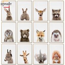 Carteles de animales e impresiones para bebés cuadro lienzo elefante jirafa conejo cuadro de Arte de pared para dormitorio infantil cuadro de estilo nórdico decoración de habitación para niños