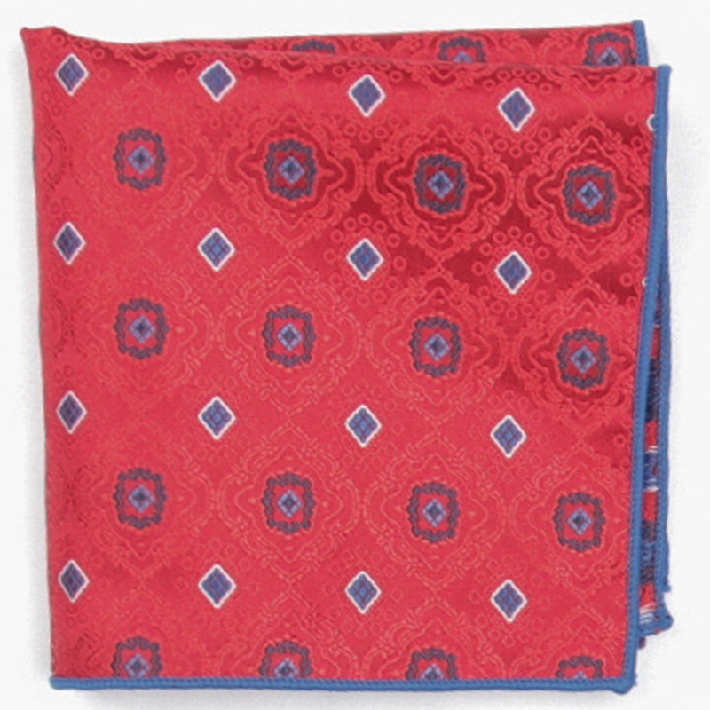 Red Color Patterned Pocket Square With Patterns Handkerchief