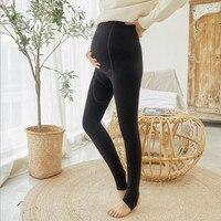 Plus velvet thickening pregnancy leggings winter maternal stomach lift warm pants adjustable belt foot stepping pants