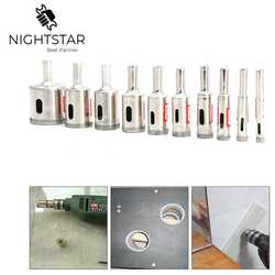 Binoax 10Pcs Diamond Coated Glass Core Hole Drill Bits Set for Glass Tile Marble Concrete Ceramic 6/8/10/12/14/16/18/20/22/30mm