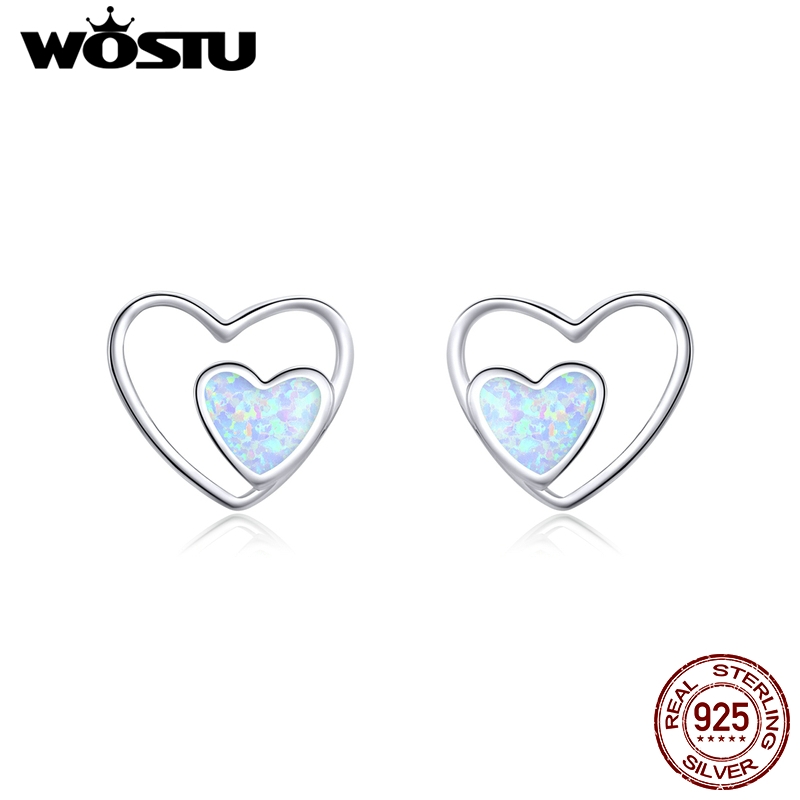 WOSTU Real 925 Sterling Silver Heart In Heart Opal Stud Earrings For Women Wedding Engagement Earrings Lovely Jewelry CQE858